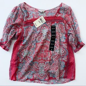 LUCKY BRAND | Red Tribal Top Size XS NWT